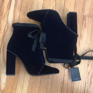 Zara Blue Velvet Ankle Boot